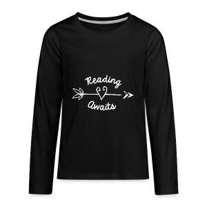 Reading Awaits Teacher Design - Kids' Premium Long Sleeve T-Shirt