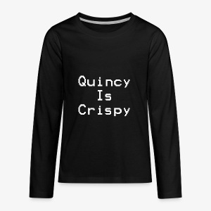 QuincyIsCrispy Text Logo (White) - Kids' Premium Long Sleeve T-Shirt