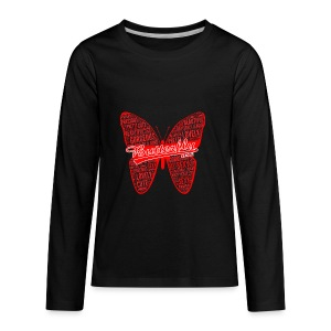 BUTTERFLY WORD RED - Kids' Premium Long Sleeve T-Shirt