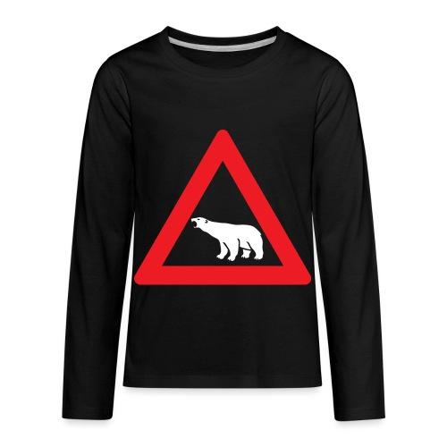 Polar Bear Road Sign - Kids' Premium Long Sleeve T-Shirt