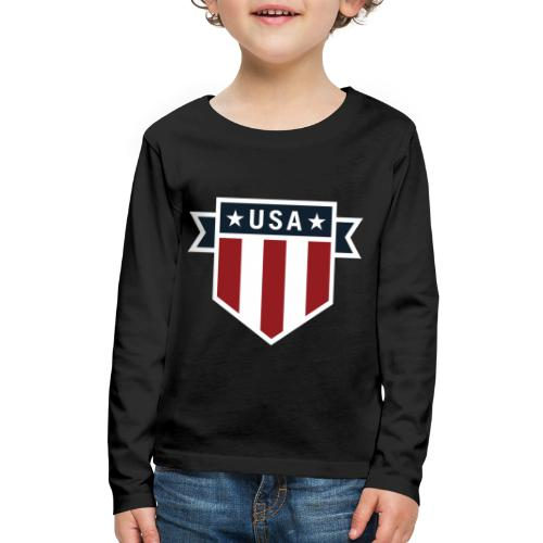 USA Pride Red White and Blue Patriotic Shield - Kids' Premium Long Sleeve T-Shirt