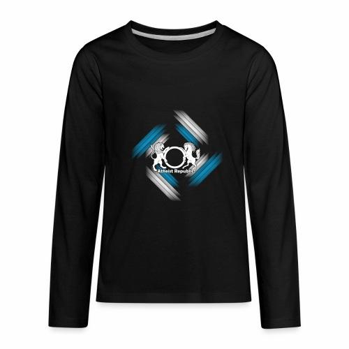 Atheist Republic Logo - Blue & White Stripes - Kids' Premium Long Sleeve T-Shirt