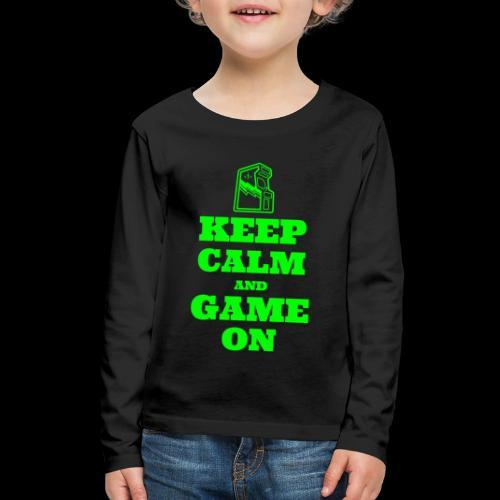 Keep Calm and Game On | Retro Gamer Arcade - Kids' Premium Long Sleeve T-Shirt