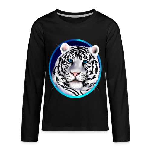 Framed White Tiger Face - Kids' Premium Long Sleeve T-Shirt
