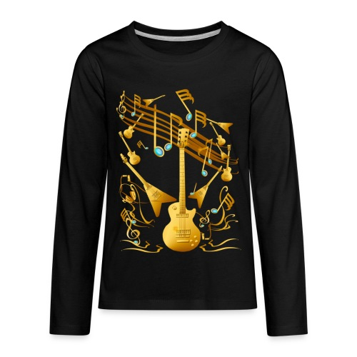 Gold Guitar Party - Kids' Premium Long Sleeve T-Shirt