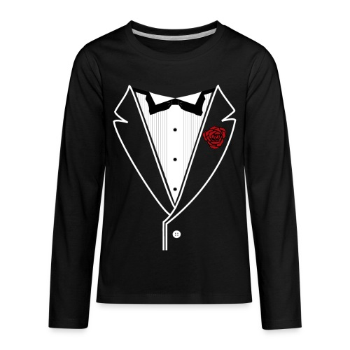 Tuxedo w/White Lapel - Kids' Premium Long Sleeve T-Shirt