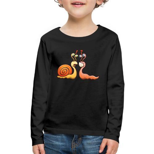 A snail carrying shell meets a slug wearing mask - Kids' Premium Long Sleeve T-Shirt