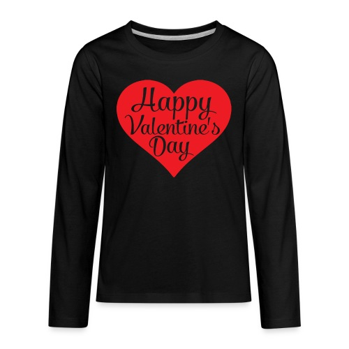 Happy Valentine s Day Heart T shirts and Cute Font - Kids' Premium Long Sleeve T-Shirt