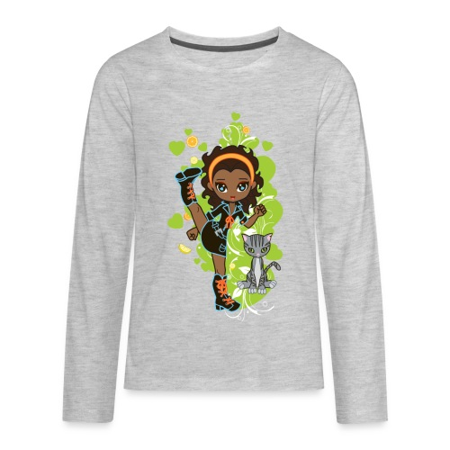 Aisha the African American Chibi Girl - Kids' Premium Long Sleeve T-Shirt