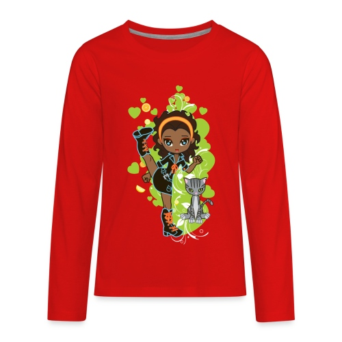 Aisha the African American Chibi Girl - Kids' Premium Long Sleeve T-Shirt