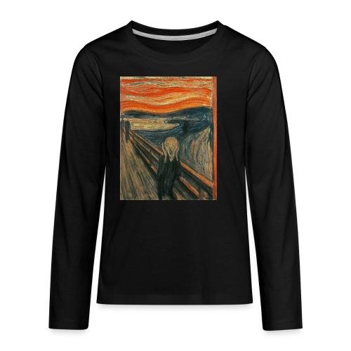The Scream (Textured) by Edvard Munch - Kids' Premium Long Sleeve T-Shirt