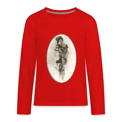 Antique Geisha Design - Japanese Girl Art - Kids' Premium Long Sleeve T-Shirt