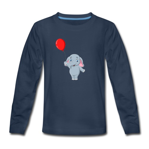 Baby Elephant Holding A Balloon - Kids' Premium Long Sleeve T-Shirt