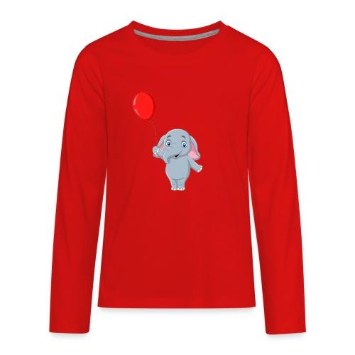 Baby Elephant Holding A Balloon - Kids' Premium Long Sleeve T-Shirt
