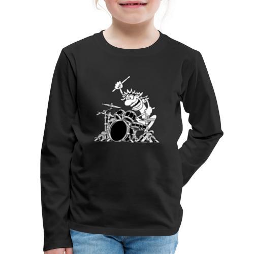 Crazy Drummer Cartoon Illustration - Kids' Premium Long Sleeve T-Shirt