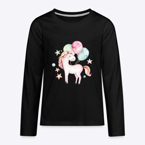 Unicorn with Baloons Mug - Kids' Premium Long Sleeve T-Shirt