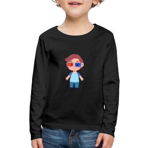 Boy with eye 3D glasses - Kids' Premium Long Sleeve T-Shirt