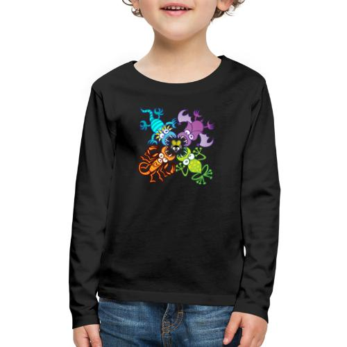 Bat, lizard, scorpion and frog stalking a poor fly - Kids' Premium Long Sleeve T-Shirt