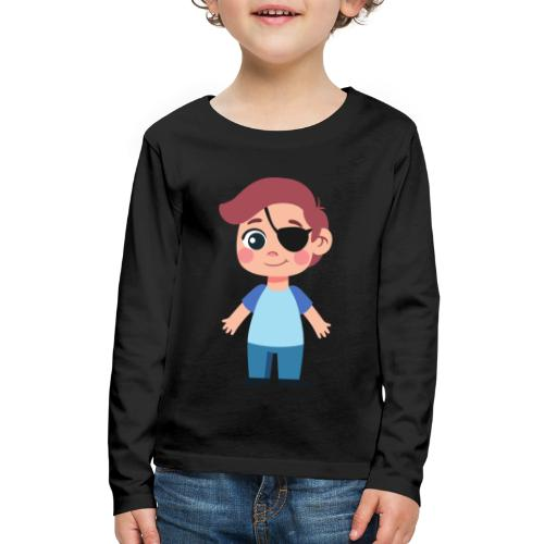 Boy with eye patch - Kids' Premium Long Sleeve T-Shirt