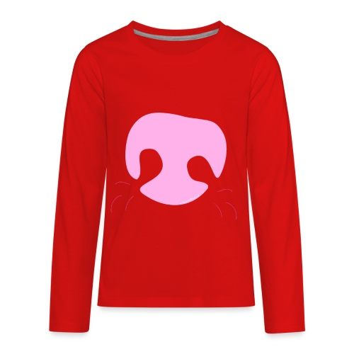 Pink Whimsical Dog Nose - Kids' Premium Long Sleeve T-Shirt