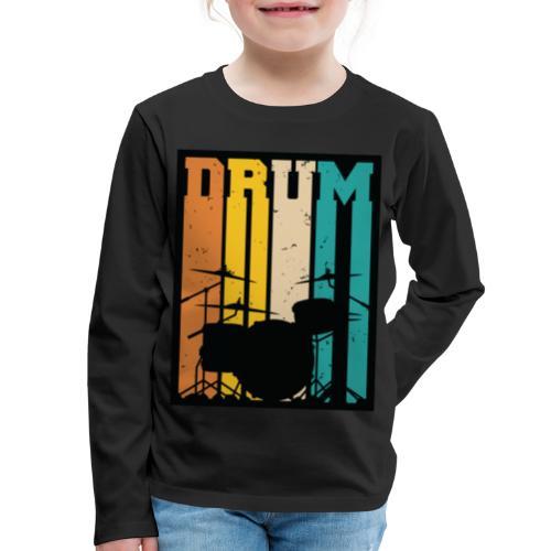 Retro Drum Set Silhouette Illustration - Kids' Premium Long Sleeve T-Shirt