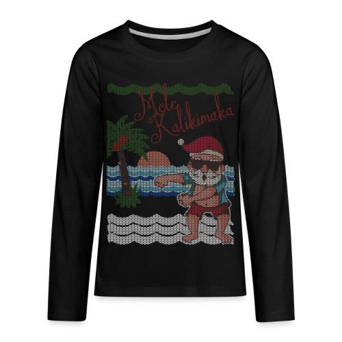 Ugly Christmas Sweater Hawaiian Dancing Santa - Kids' Premium Long Sleeve T-Shirt