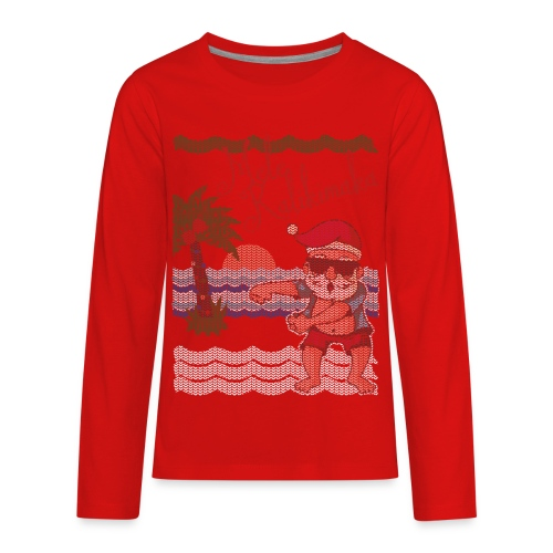 Ugly Christmas Sweater Hawaiian Dancing Santa - Kids' Premium Long Sleeve T-Shirt