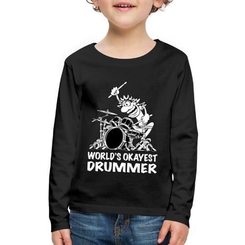World's Okayest Drummer Cartoon Illustration - Kids' Premium Long Sleeve T-Shirt