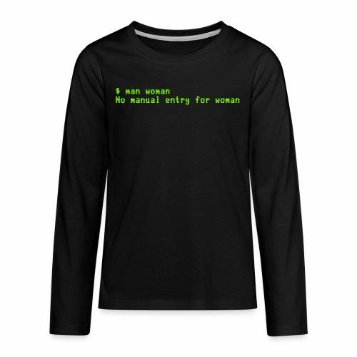 man woman. No manual entry for woman - Kids' Premium Long Sleeve T-Shirt