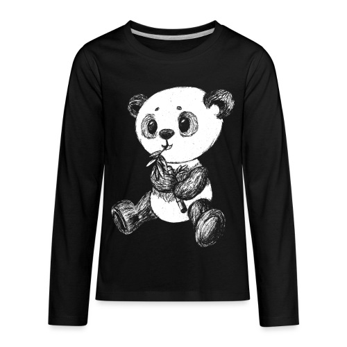 Panda bear white scribblesirii - Kids' Premium Long Sleeve T-Shirt