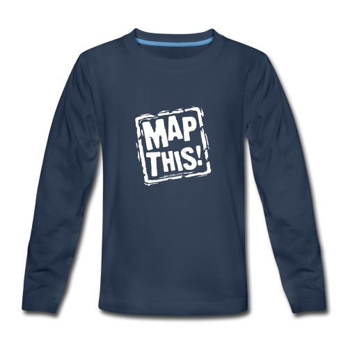 MapThis! White Stamp Logo - Kids' Premium Long Sleeve T-Shirt