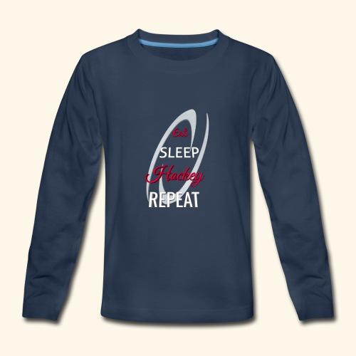 Eat Sleep Hockey Repeat - Kids' Premium Long Sleeve T-Shirt