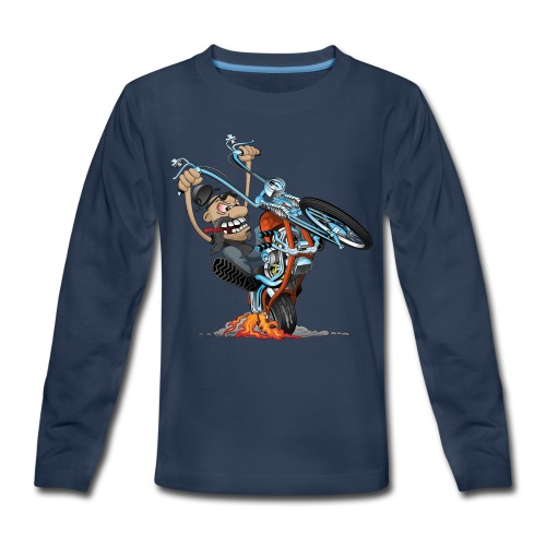Funny biker riding a chopper cartoon - Kids' Premium Long Sleeve T-Shirt