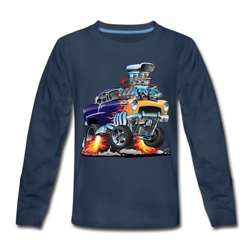 Classic Fifties Hot Rod Muscle Car Cartoon - Kids' Premium Long Sleeve T-Shirt