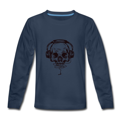 music skull head - Kids' Premium Long Sleeve T-Shirt