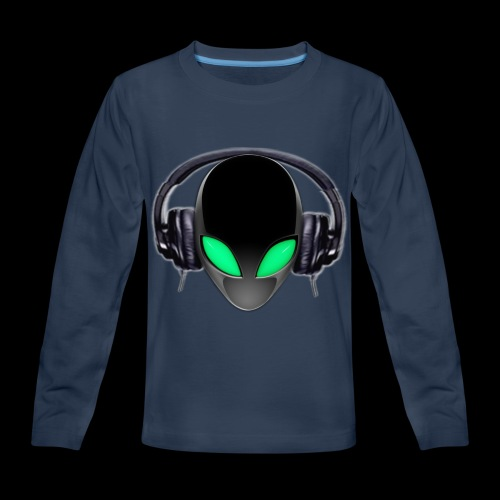 Alien Music Lover DJ (Simplified Fit All Design) - Kids' Premium Long Sleeve T-Shirt