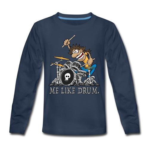 Me Like Drum. Wild Drummer Cartoon Illustration - Kids' Premium Long Sleeve T-Shirt