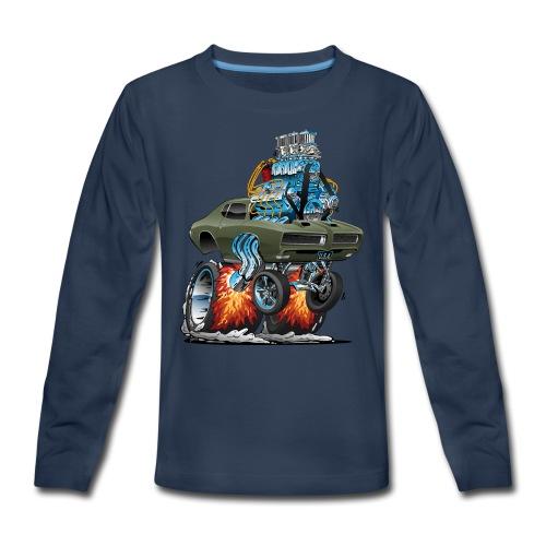 Classic American Muscle Car Hot Rod Cartoon - Kids' Premium Long Sleeve T-Shirt