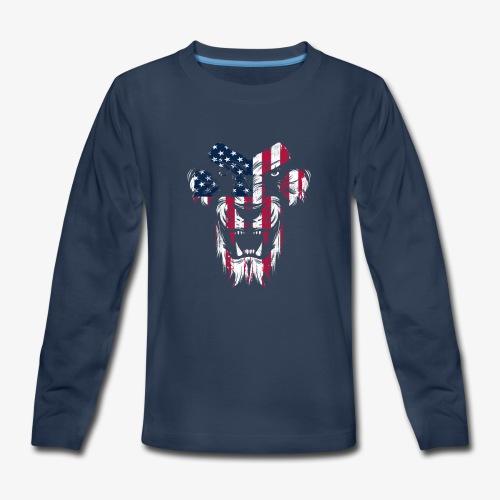 Lovely American Lion USA Flag Silhouette Portrait - Kids' Premium Long Sleeve T-Shirt