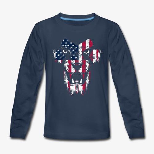 American Flag Lion - Kids' Premium Long Sleeve T-Shirt