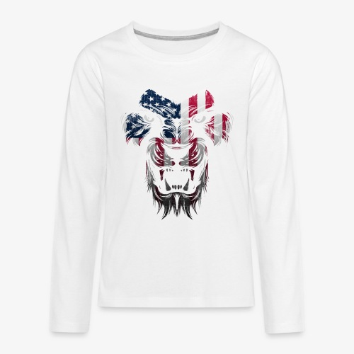 American Flag Lion Shirt - Kids' Premium Long Sleeve T-Shirt