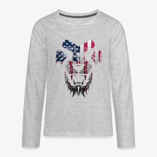American Flag Lion Shirt - Kids' Premium Long Sleeve T-Shirt