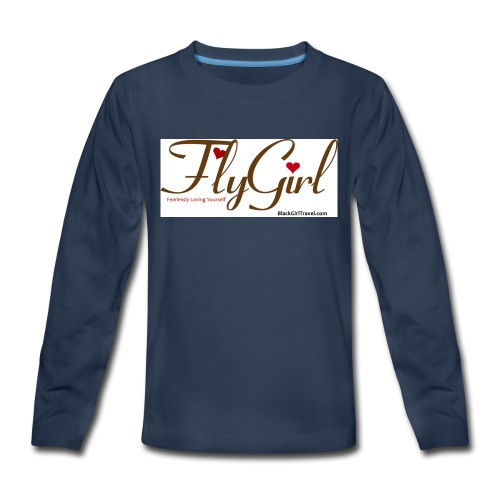 FlyGirlTextGray jpg - Kids' Premium Long Sleeve T-Shirt