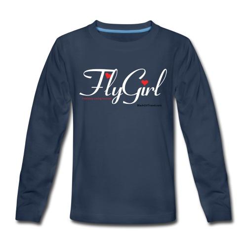 FlyGirlTextWhite W Black png - Kids' Premium Long Sleeve T-Shirt
