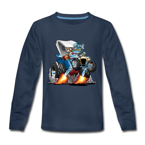 Custom T-bucket Roadster Hotrod Cartoon - Kids' Premium Long Sleeve T-Shirt