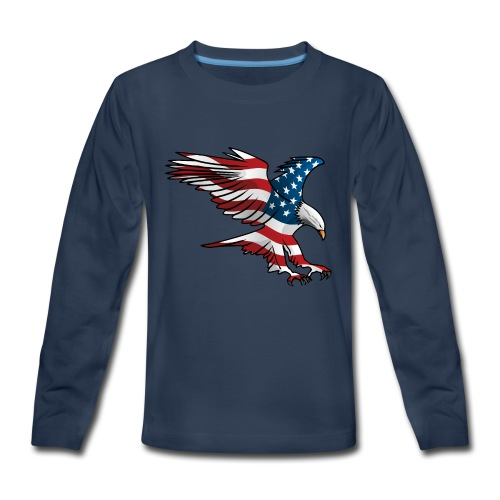 Patriotic American Eagle - Kids' Premium Long Sleeve T-Shirt
