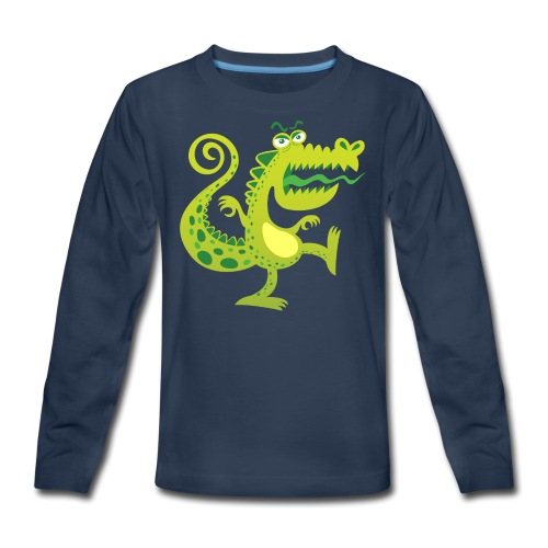 Scary reptile like monster growling in angry mood - Kids' Premium Long Sleeve T-Shirt