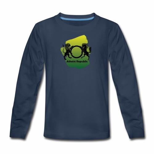 Atheist Republic Logo - Yellow & Green Paint - Kids' Premium Long Sleeve T-Shirt