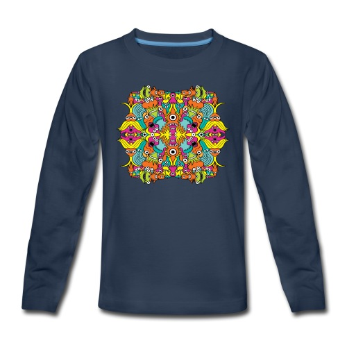 Aquatic monsters in a pattern in doodle art style - Kids' Premium Long Sleeve T-Shirt