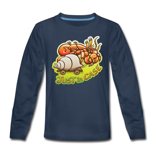 Hermit crab goes out but takes shell, just in case - Kids' Premium Long Sleeve T-Shirt